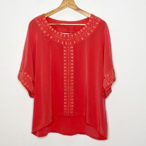 Annie Griffin Red Pink Silk Embroidered Blouse